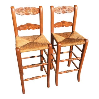 Carved French Country Stools - A Pair