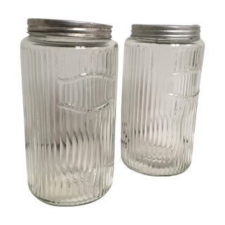 Vintage Hoosier Round Ribbed Glass Canisters - 2