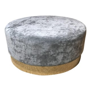Grey Round Ottoman With Brass Base