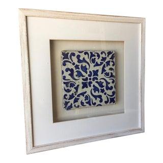 Antique Italian Framed Blue & White Tile