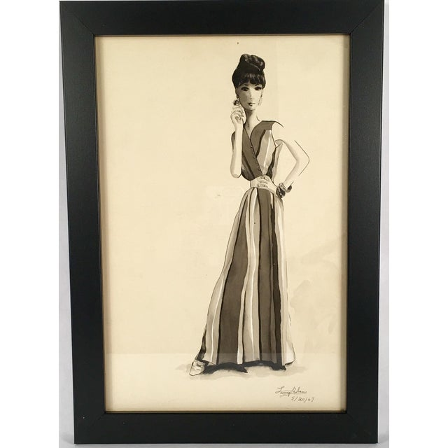 Woman in Striped Dress Watercolor - Image 2 of 4