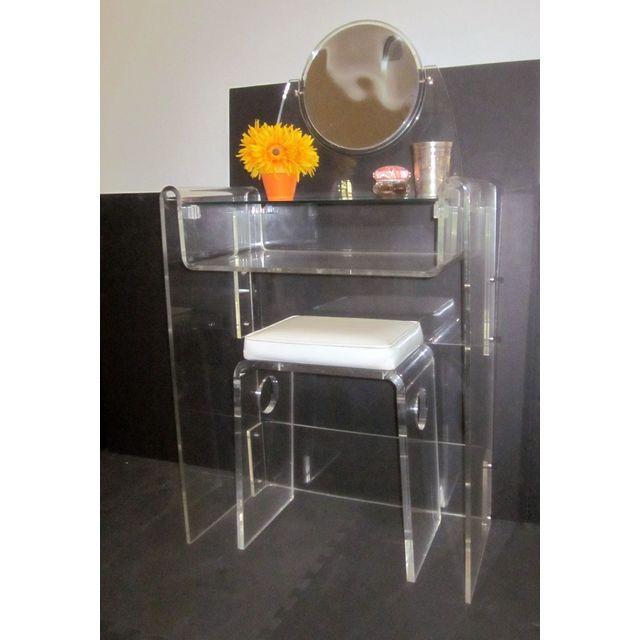 acrylic vanity bench | Lucite Vanity & Bench | Chairish
