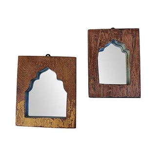 Vintage Indian Archway Teak Mirrors - A Pair