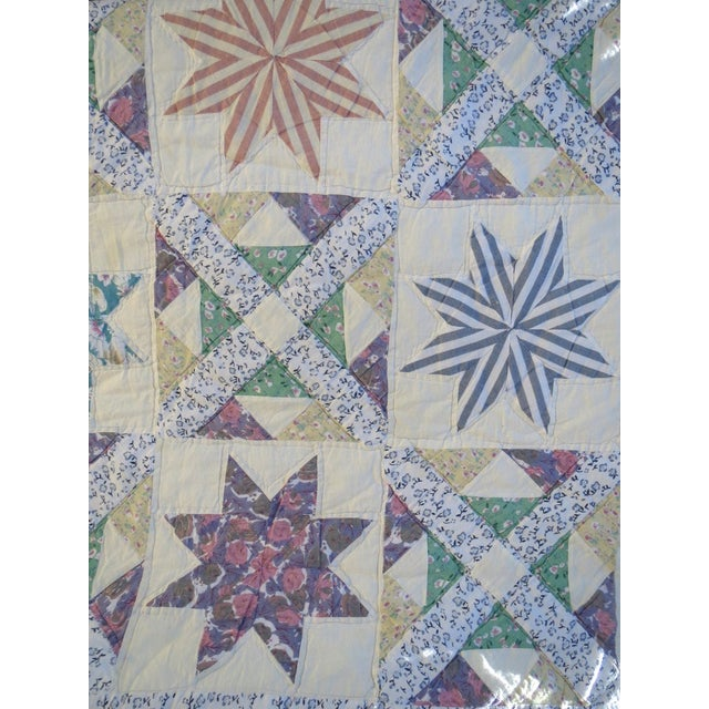 Vintage Feedsack Star Quilt - Image 5 of 8