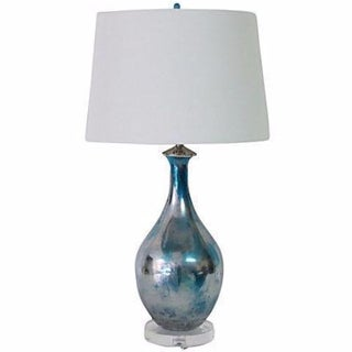 Vintage Blue Mercury Glazed Glass Lamp
