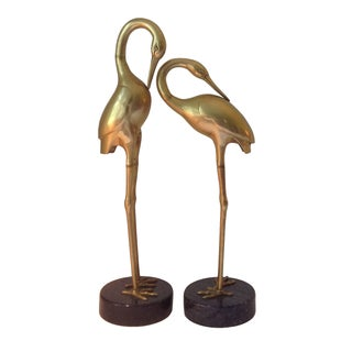 Monumental Crespi-Style Brass Herons - Pair