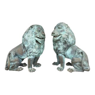 Oversized Bronze Garden Lion Figures- A Pair