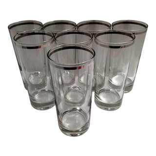 Set of 8 Fostoria Platinum Rim Crystal Glasses