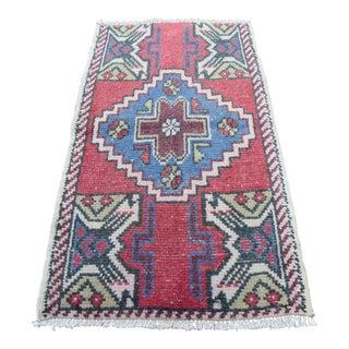Handmade Turkish Nomadic Wool Area Rug - 1′8″ × 2′9″