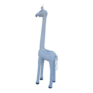 Tall White Wicker Planter Giraffe.