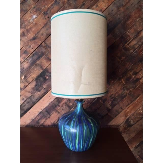Image of Mid-Century Ceramic Drip Glaze Lamp - Just 1 Available