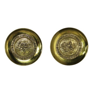 Peerage Brassware Decorative Embossed English Wall Plates - a Pair