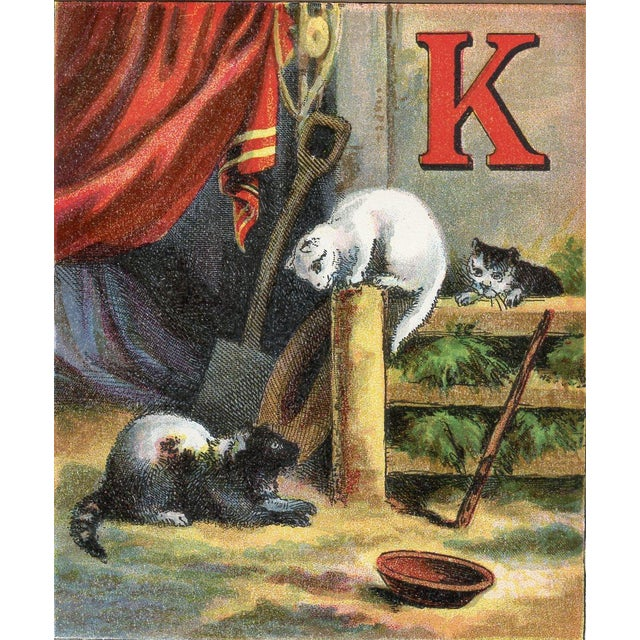 Image of Chromolithograph Print - Kitten Alphabet 1870s