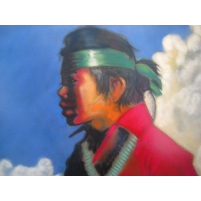 Vintage Framed Pastel - Young Navajo Boy with Lamb - Image 3 of 4