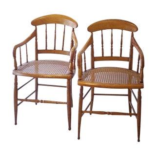 Cane Arm Chairs - a Pair