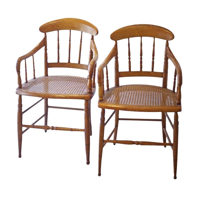 Cane Arm Chairs - a Pair - Image 1 of 4