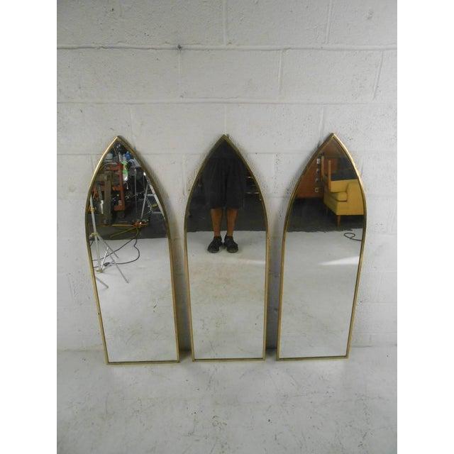 Mid century arch mirrors set of 3 chairish for Church style mirrors