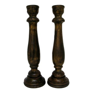 Rubbed Metal & Wood Candlesticks - A Pair