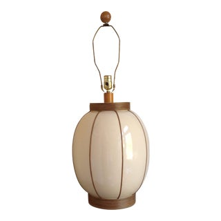 Mid-Century Bamboo Wrapped Porcelain Lamp