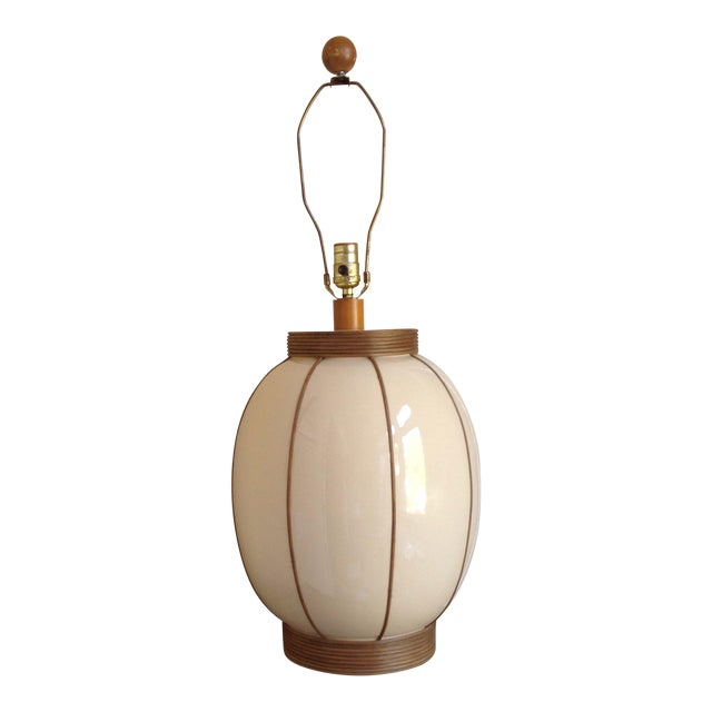Mid-Century Bamboo Wrapped Porcelain Lamp - Image 1 of 5