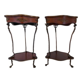 Mahogany Hand-Painted Side Tables - A Pair