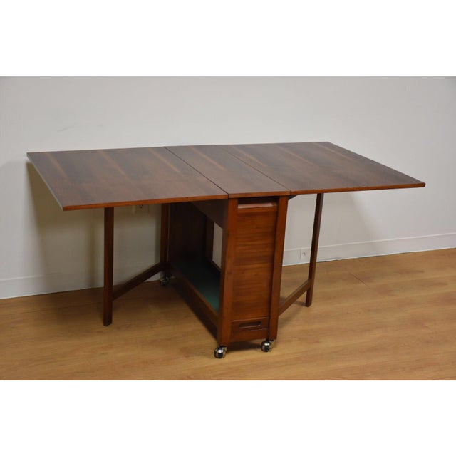 Walnut Dining Table and Self Storing Chairs - Set of 5 - Image 6 of 11
