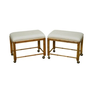 Drexel Heritage Faux Bamboo Pair of Ottomans Stools