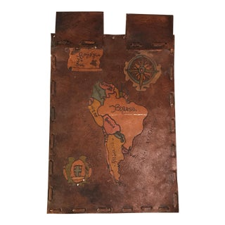 Hanging Leather Map of South America