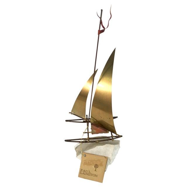 Image of Paul Langton Brutalist Brass Sailboat Sculpture