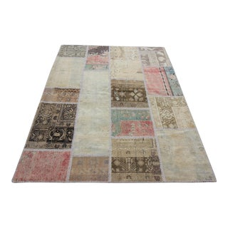 Vintage Turkish Overdyed Patchwork Oushak Rug - 5′ × 6′7″