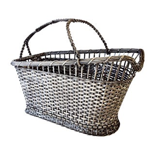 French Silver Wine Server Wire Basket