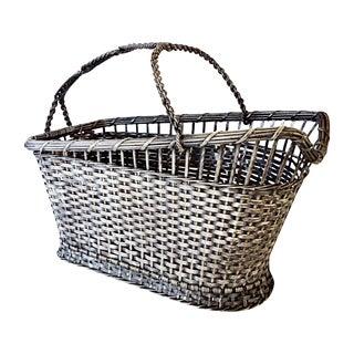 French Silver Wine Server Wire Basket