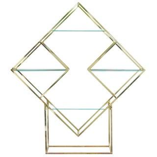 Modern Diamond Brass Etagère