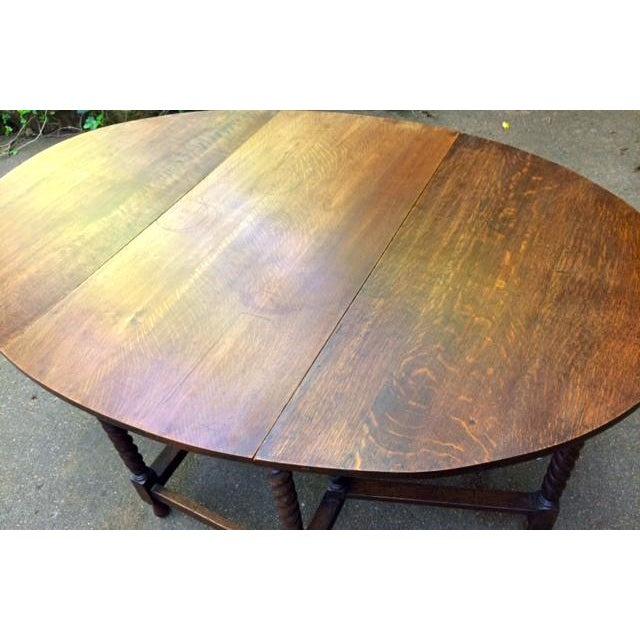 Antique Oak Drop Leaf Table - Image 4 of 6