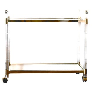 Charles Hollis Jones Lucite and Brass Bar Cart