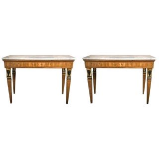 Late 19th Early-20th Century Italian Marble-Top Console Tables - Pair