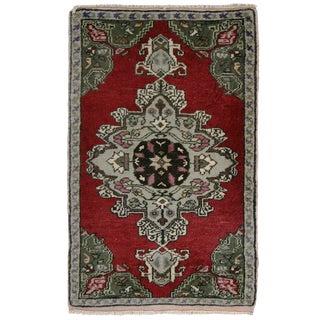 Vintage Turkish Medallion Yastik Carpet - 1′9″ × 2′10″