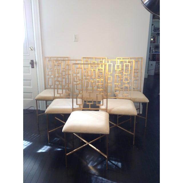 Worlds Away David Gold Iron Chairs - Set of 6 - Image 2 of 11