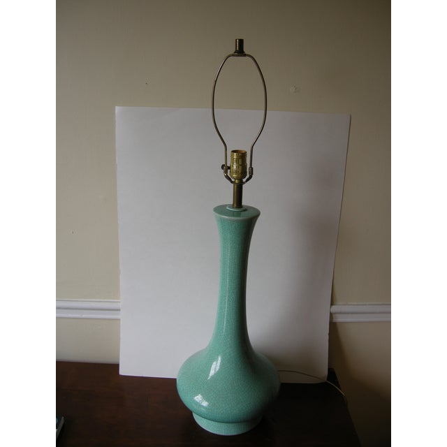 Vintage Mid-Century Modern Turquoise Table Lamp - Image 6 of 7