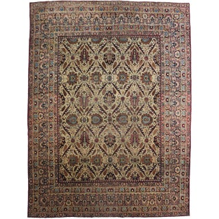 Hand Knotted Antique Kerman Shah Rug - 9'x11'