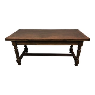 French Country Walnut Trestle Farmhouse Dining Table