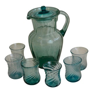 Vintage Mexican Glass Pitcher & Glasses - Set of 7