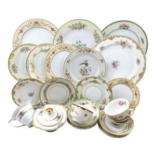Vintage Mismatched Fine China Dinnerware Service for 8 - Set of 62