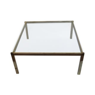 Guy Lefevre Style Brass & Glass Coffee Table