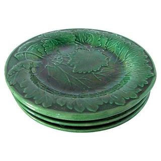 Antique English Majolica Plates - S/4