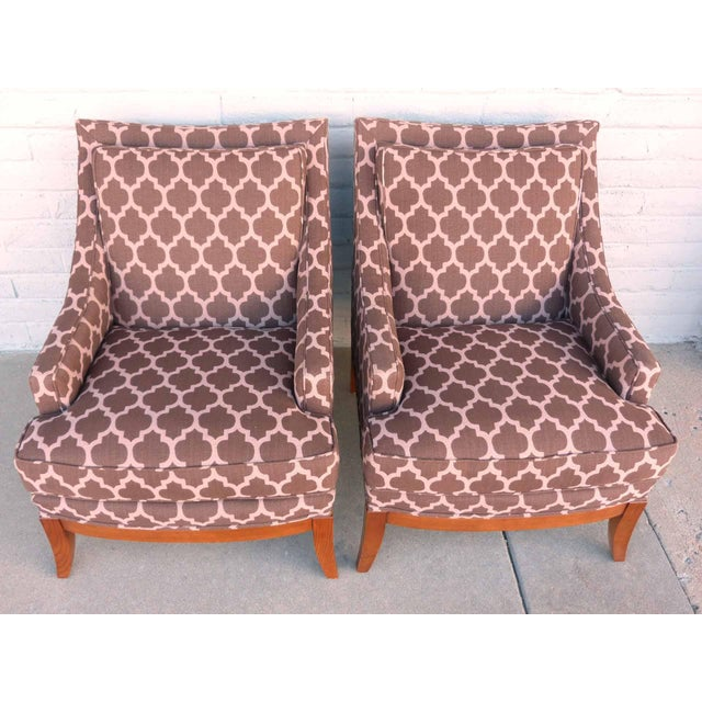 Kravet Furniture Upholstered Lounge Chairs With Wood Frame - A Pair - Image 3 of 7