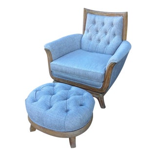Stately Cream Chair and Ottoman