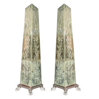 Etched Mirrored Obelisks - A Pair