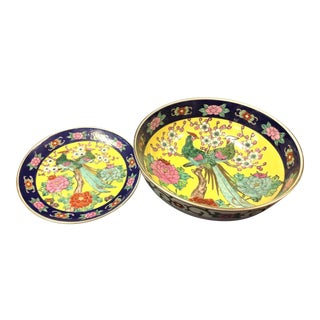 Gold Imari Porcelain Bowl and Plate - a Pair