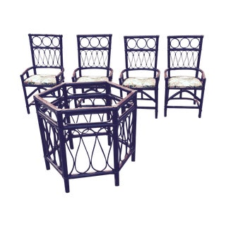 Vintage Rattan Bamboo Patio Set